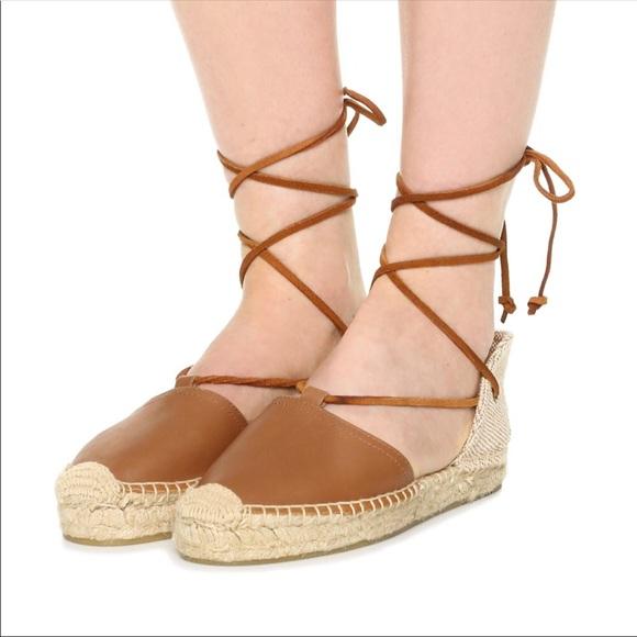 7c631a2e1a8 NWT Soludos Tan Platform Gladiator Lace Up Sandal